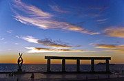 """blue Sunset"" Posters - Rocky Point Mexico beach statue Poster by Dave Dilli"