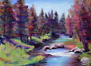 White River Pastels Framed Prints - Rocky River Framed Print by Marion Derrett