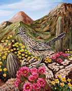 Southwestern Art Painting Originals - Rocky Road Runner by Judy Filarecki