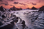 Colorful Sunsets Posters - Rocky Shore at Hartland Quay Poster by Richard Garvey-Williams
