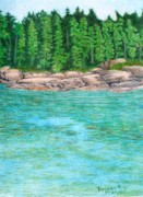 Maine Coast Drawings - Rocky Shore by Ronine McIntyre
