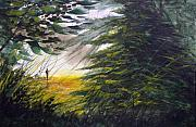Fly Fisherman Paintings - Rocky Stream by Sean Seal