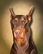 Doberman Paintings - Rocky the Red by Snake Jagger