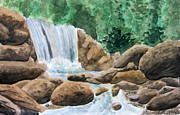 Watercolor Painting Acrylic Prints - Rocky Waterfalls Acrylic Print by Anthony Nold