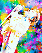 Music Legends Paintings - Rod Stewart by Rosalina Atanasova