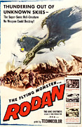 1957 Movies Photo Framed Prints - Rodan, 1957, Poster Art Framed Print by Everett