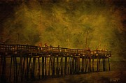 Atlantic Ocean Mixed Media Posters - Rodanthe Fishing Pier At Sundown Poster by Anne Kitzman
