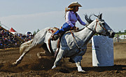 Thelightscene Prints - Rodeo Barrel Racer Print by Bob Christopher