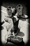 Cowboy Art Digital Art Posters - Rodeo Boots and Spurs Poster by Gus McCrea