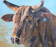 Bull Riding Paintings - Rodeo Bull on exit by Leonie Bell