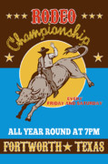Fort Worth Posters - Rodeo Cowboy Bull Riding Poster Poster by Aloysius Patrimonio