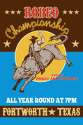 Fort Worth Posters - Rodeo Cowboy riding  a bull bucking Poster by Aloysius Patrimonio