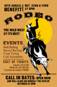 Wild West Digital Art Framed Prints - Rodeo Cowboy Riding Bull Poster Framed Print by Aloysius Patrimonio