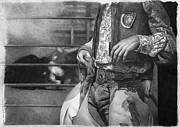 Cowboy Pencil Drawing Posters - Rodeo Poster by David Vanderpool