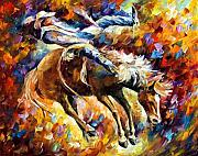 Original Cowboy Paintings - Rodeo by Leonid Afremov