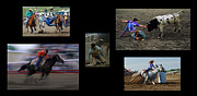 Sports Montage Posters - Rodeo Magic No Caption Poster by Bob Christopher