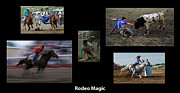Sports Montage Posters - Rodeo Magic With Caption Poster by Bob Christopher