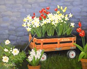Garden Scene Paintings - Rodeo Wagon by Carol Reynolds