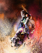 Steer Digital Art - Rodeoscape 01 by Miki De Goodaboom