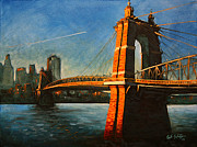 Ohio River Painting Posters - Roebling Bridge No.1 Poster by Erik Schutzman