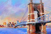 Cincinnati Paintings - Roebling Twilight by David  Maynard