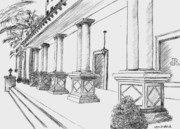 Building Exterior Drawings - Roesenberg Diamond Company by William Dietrich