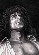Graphite Portraits Drawings - Roger Daltry by Kathleen Kelly Thompson
