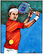 French Open Drawings Posters - Roger Federer Poster by Dave Olsen