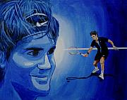 Tennis Painting Originals - Roger Federer by Quwatha Valentine