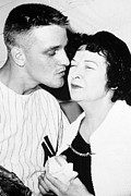 Yankees Portraits Prints - Roger Maris Ny Yankees With Mrs. Babe Print by Everett