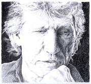 Pink Floyd Drawings Posters - Roger Waters of Pink Floyd Poster by Liz Molnar