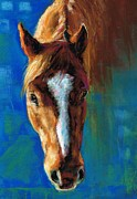 Horse Drawings Metal Prints - Rojo Metal Print by Frances Marino