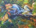 Doberman Paintings - Roll Over by Susan Davies