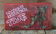 Sports Art Mixed Media Posters - Roll Tide - Large Poster by Racquel Morgan