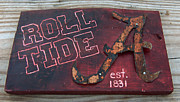 Team Mixed Media Prints - Roll Tide Alabama Print by Racquel Morgan