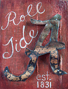 Alabama Mixed Media Posters - Roll Tide Poster by Racquel Morgan