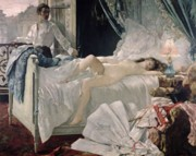 Reclining Painting Prints - Rolla Print by Henri Gervex