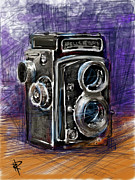 Film Camera Mixed Media Prints - Rollei Print by Russell Pierce