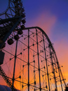 Roller Coaster Posters - Roller Coaster at Sunset Poster by Eena Bo