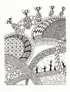 Abstract.trees Drawings Prints - Roller Coaster Print by Paula Dickerhoff
