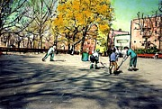 Cities Mixed Media Prints - Roller Hockey in Bennett Park Print by Sarah Loft