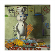 Monopoly Paintings - Rolling in Dough by Judy Sherman