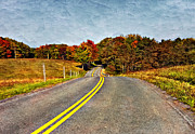 Rural Road Prints - Rolling Into Autumn painted Print by Steve Harrington