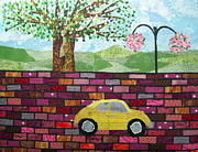 Transportation Tapestries - Textiles Metal Prints - Rolling on the Bricks Metal Print by Charlene White