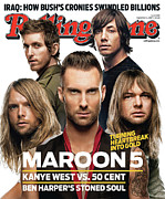 Covers Metal Prints - Rolling Stone Cover - Volume #1034 - 9/6/2007 - Maroon 5 Metal Print by Matthew Rolston