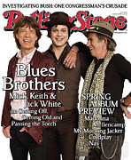 Keith Richards Photo Framed Prints - Rolling Stone Cover - Volume #1050 - 4/17/2008 - Mick Jagger, Keith Richards and Jack White Framed Print by Max Vadukul