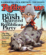 George W. Bush Prints - Rolling Stone Cover - Volume #1060 - 9/4/2008 - George W. Bush Print by Victor Juhasz