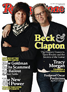 Eric Clapton Metal Prints - Rolling Stone Cover - Volume #1099 - 3/4/2010 - Jeff Beck and Eric Clapton Metal Print by Jones Sam