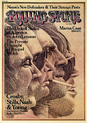 Rolling Stone Magazine Metal Prints - Rolling Stone Cover - Volume #168 - 8/29/1974 - Crosby, Still, Nash and Young Metal Print by Dugard Stermer