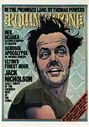 Rollingstone Framed Prints - Rolling Stone Cover - Volume #201 - 12/4/1975 - Jack Nicholson Framed Print by Kim Whitesides